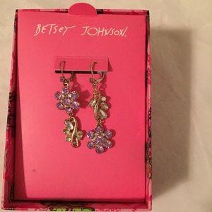 New Betsey Johnson Floral Dangle Earrings Lavender